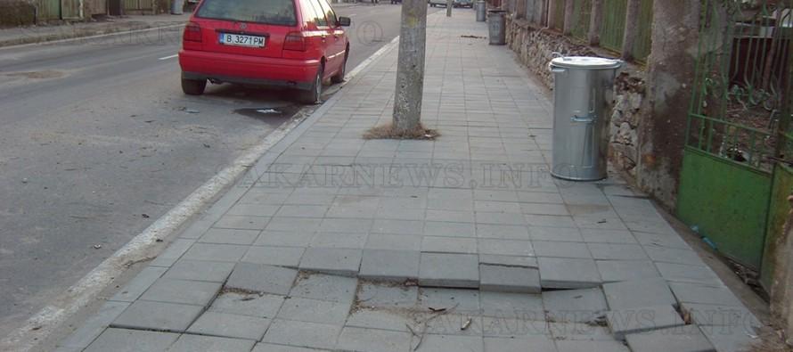 Новите тротоари в село  Устрем пропаднаха